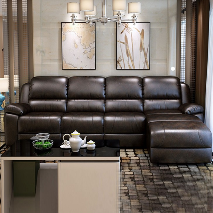 Super Chocolate Manual Recliner Sectional Sofa In Faux Leather With Right Facing Chaise Lh 1806 1 Short Links Chair Design For Home Short Linksinfo