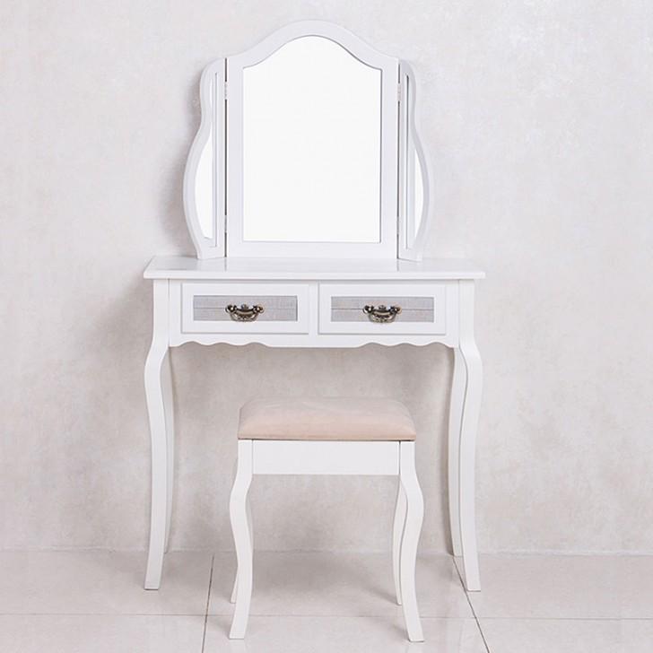 White Bedroom Vanity Set with Mirror and Stool (JI3240)