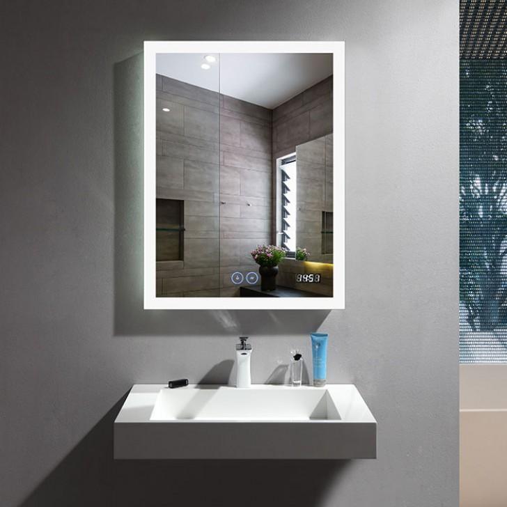 Bathroom Mirrors.24 X 32 In Vertical Led Bathroom Mirror With Anti Fog And Clock