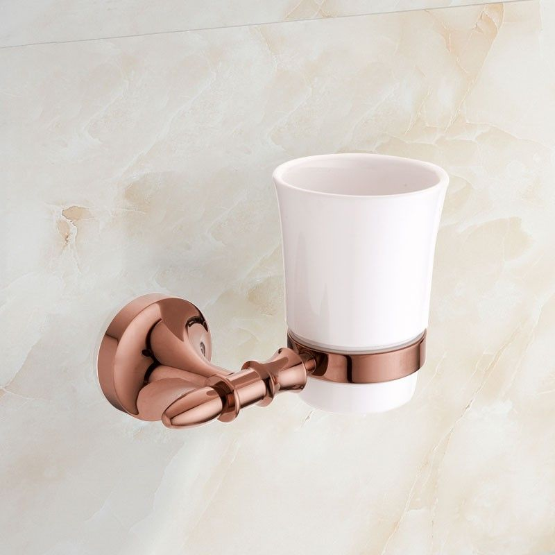 Wall-Mounted Round Tumbler Holder - Rose Gold Brass (90358E)