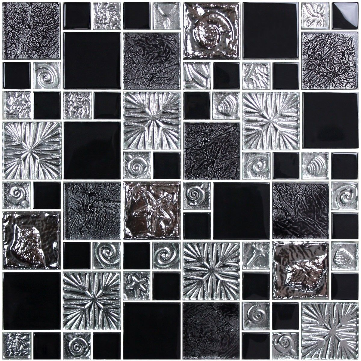 12 in. x 12 in. Electroplated Glass Mosaic Tile - 8mm (SH0040)