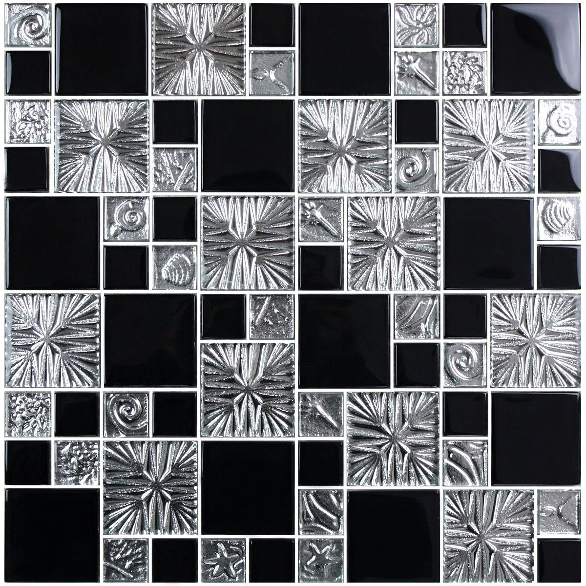 12 in. x 12 in. Electroplated Glass Mosaic Tile - 8mm Thickness (R3855C)