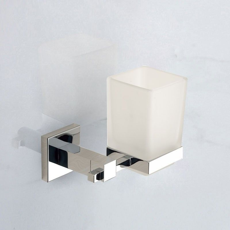 Square Wall-Mounted Tumbler Holder - Chrome Brass (80858)