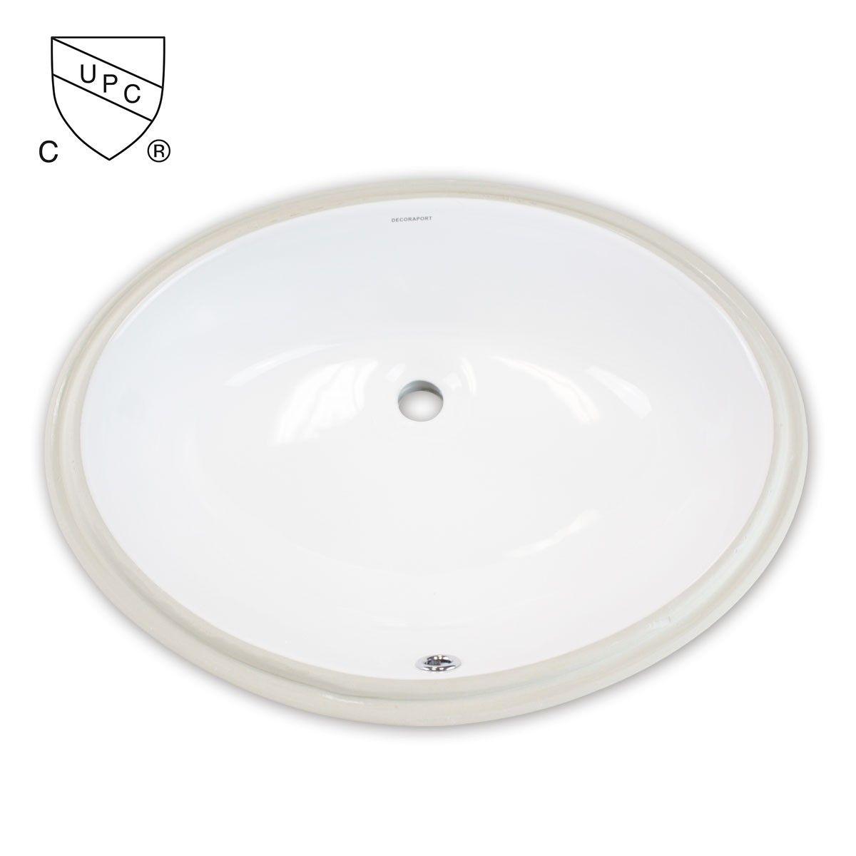 Decoraport White Oval Ceramic Under Mount Basin Bathroom Sink (MY-3708)