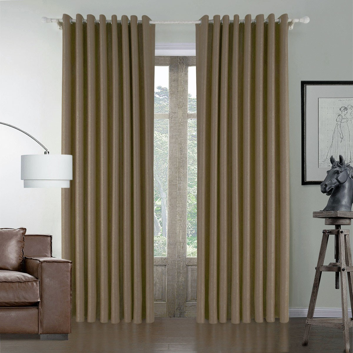 "Brown Blackout Grommet Curtain Panel, 50"" W x 84"" L (DK-GT003)"