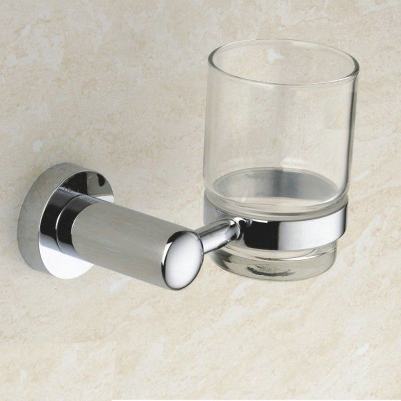Wall-Mounted Round Tumbler Holder - Chrome Brass(80758)