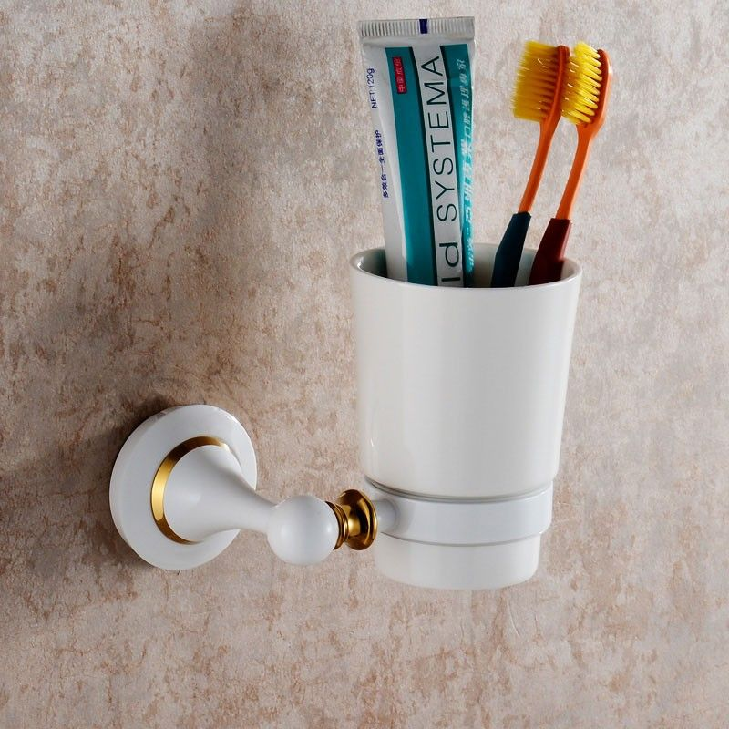 Wall-Mounted Round Tumbler Holder - Chrome Brass(80358D)