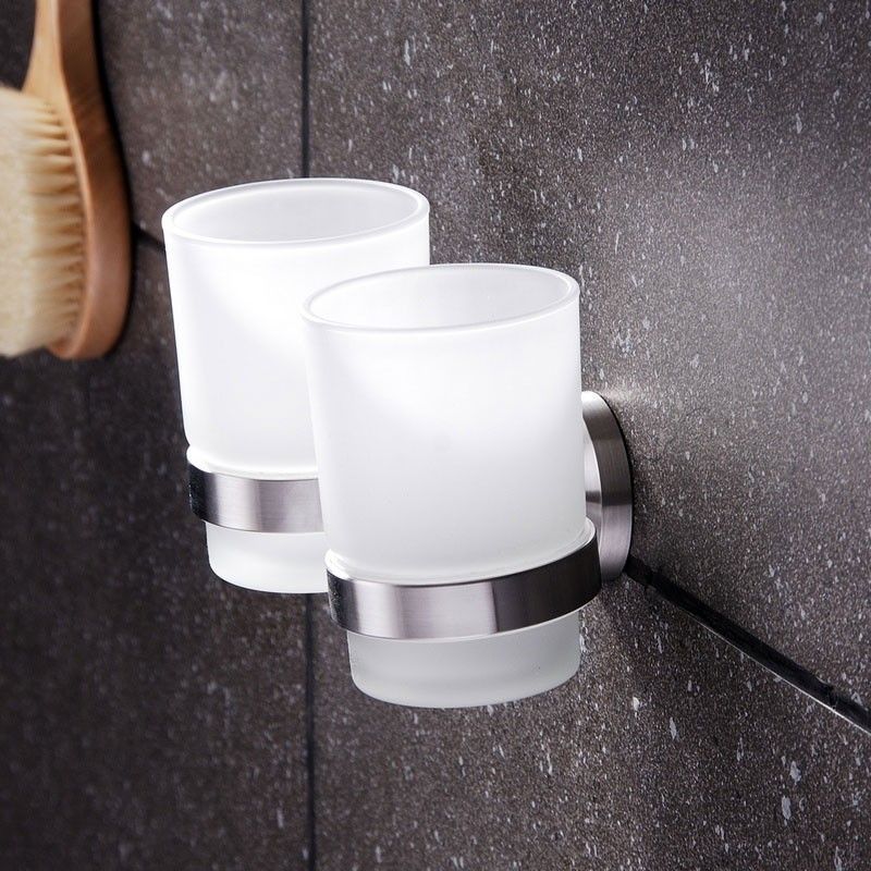 Round Double Wall-Mounted Tumbler Holder - Stainless Steel (30368)