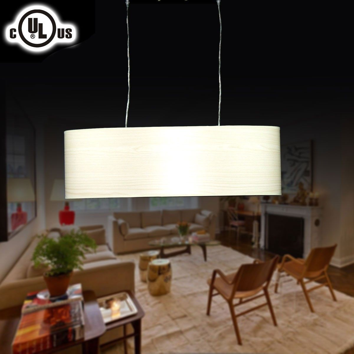 2-Light Metal& Fabric Built Barrel Pendant Light (HYD61569-2)