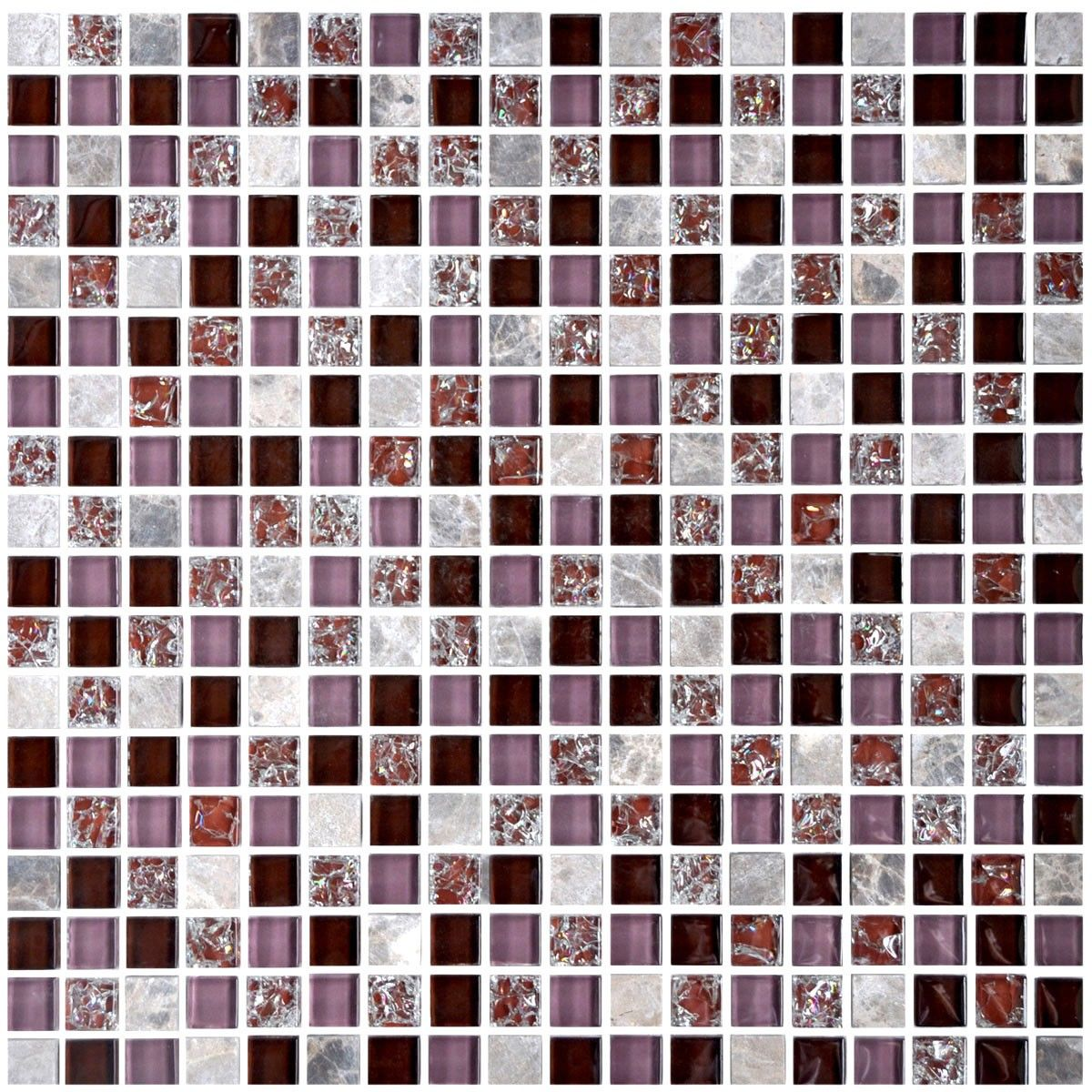 12 in. x 12 in. Crackle Glass/Stone Blend Mosaic Tile - 8mm Thickness (AD801009)
