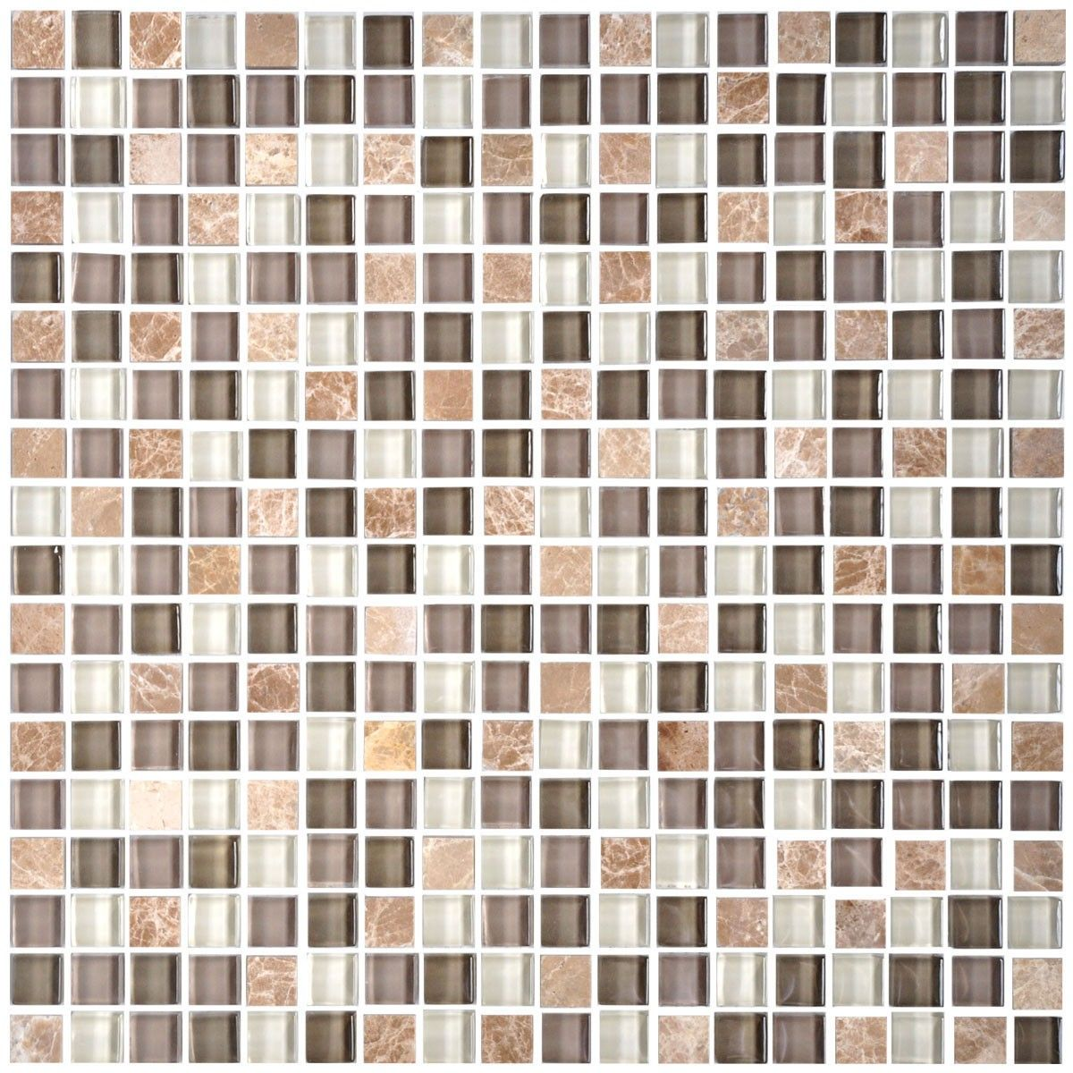 12 in. x 12 in. Glass/Stone Blend Mosaic Tile - 8mm Thickness (AD801041)