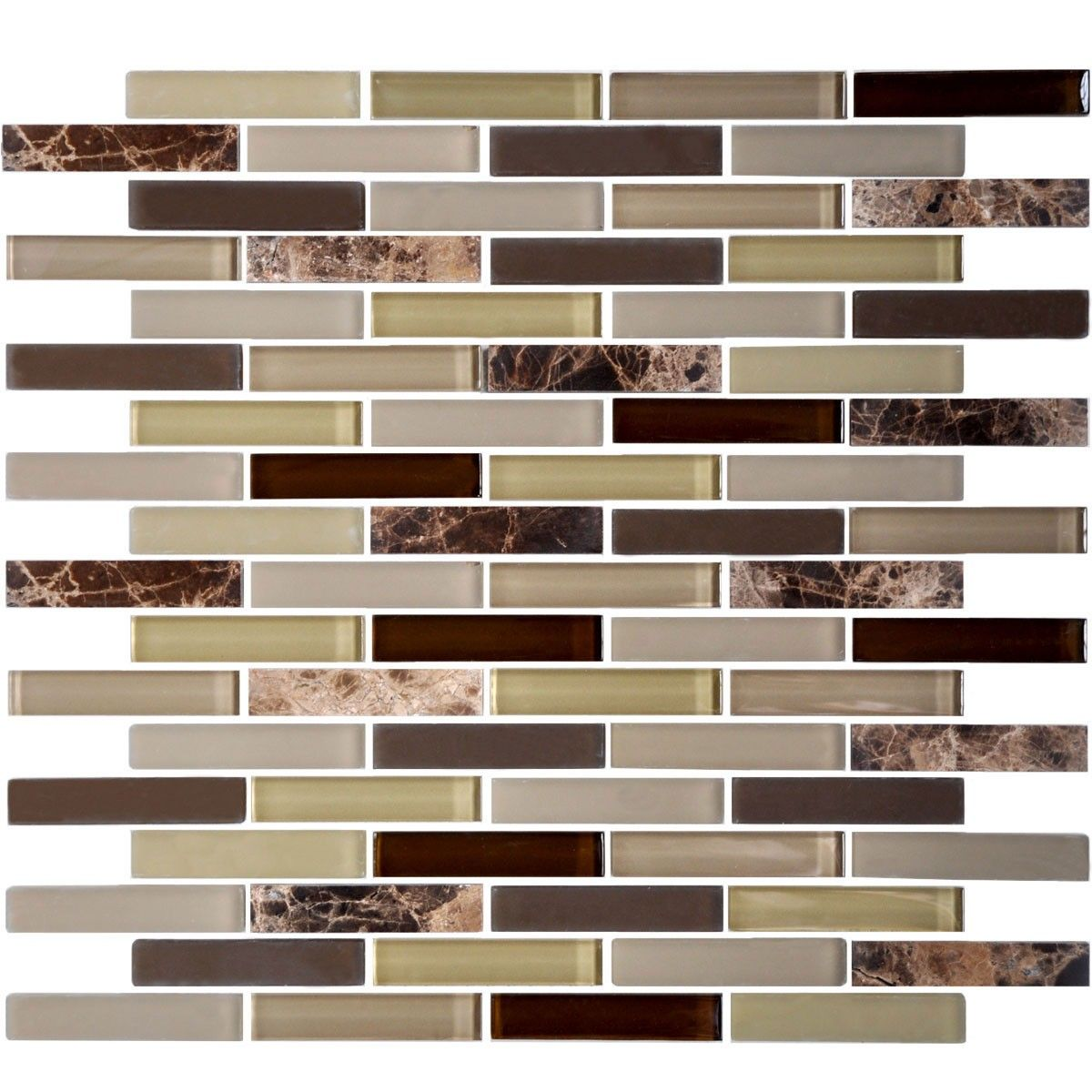 12 in. x 12 in. Glass/Stone Blend Strip Mosaic Tile - 8mm Thickness (AD806026)