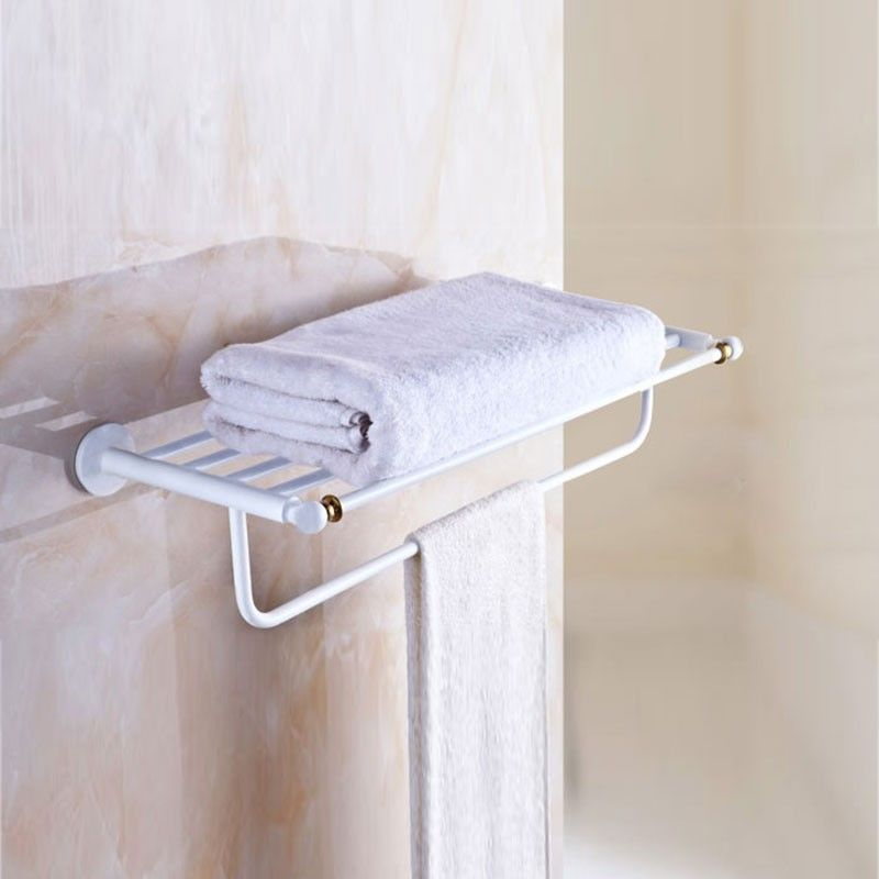 White Painting Brass Towel Shelf & Bar (80300D) | Decoraport USA