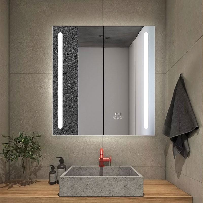 DECORAPORT 30 x 32 Inch  LED Double Door Smart Mirror Cabinet, Touch switch, Anti-fog, Dimmable light, Tri-color light, Memory function, Clock display, Built-in sensor light, Socket, USB port (G103-3032)