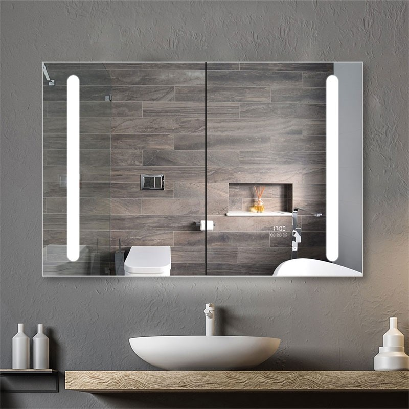 DECORAPORT 48 x 32 Inch  LED Double Door Smart Mirror Cabinet, Touch switch, Anti-fog, Dimmable light, Tri-color light, Memory function, Clock display, Built-in sensor light, Socket, USB port (G105-4832)
