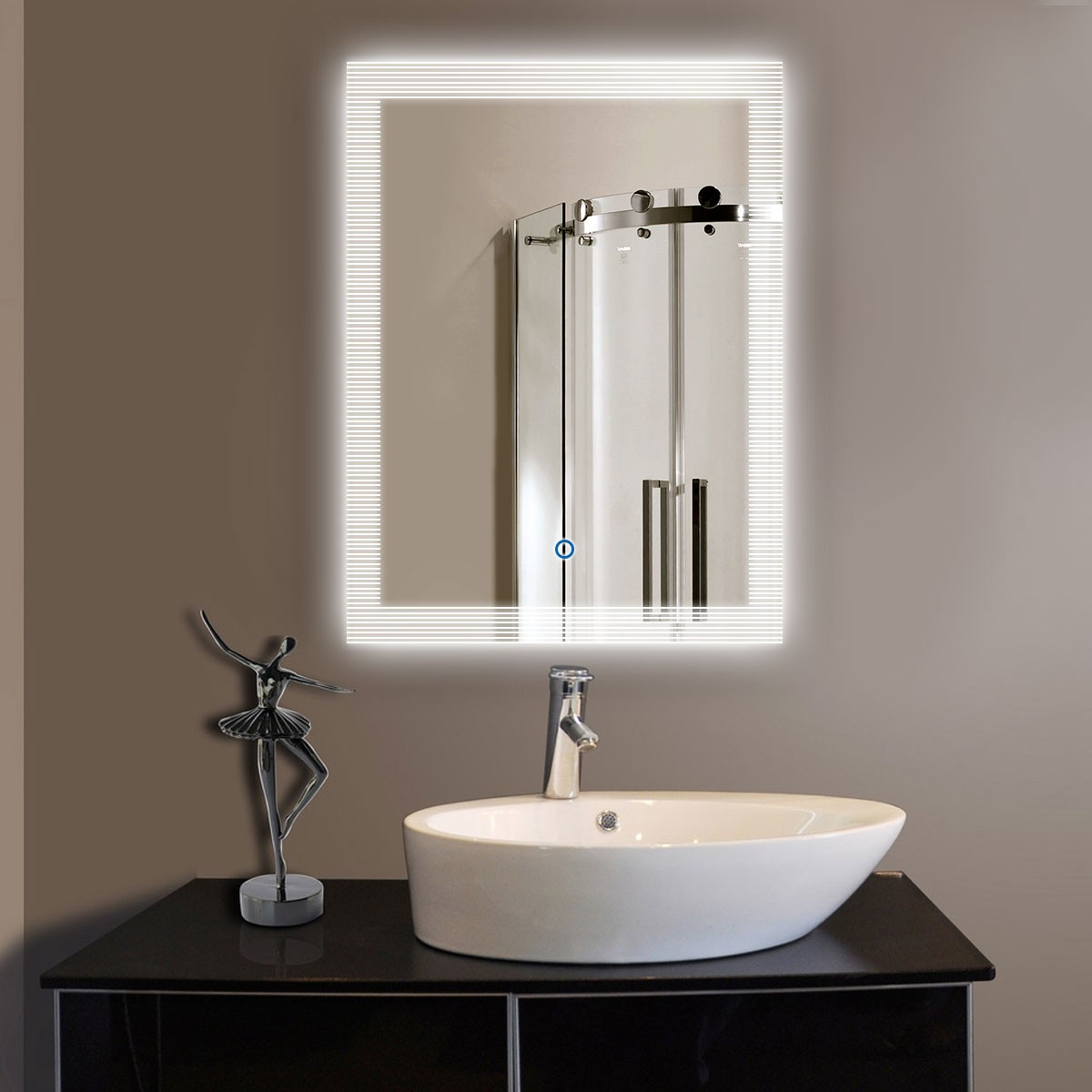 24 x 32 in vertical led bathroom mirror touch button dk 10826