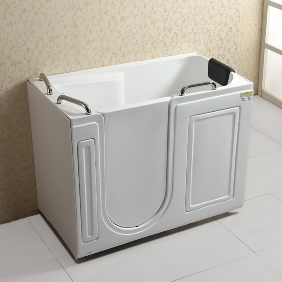 53 x 29 In Walk-in Soaking Bathtub - Acrylic White with Left Drain ...