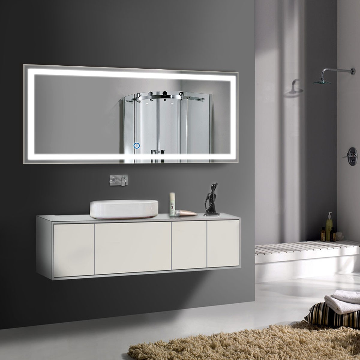 70 x 32 In. Horizontal LED Illuminated Bathroom Mirror, Touch Button (DK-OD-CK010-A)