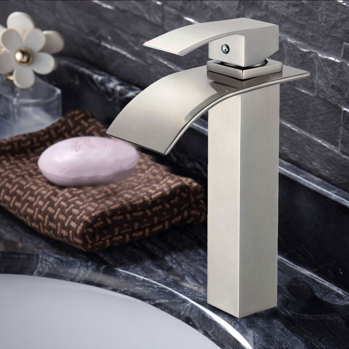Basin Sink Waterfall Faucet Brass In Brushed Nickel 81h36 Bn