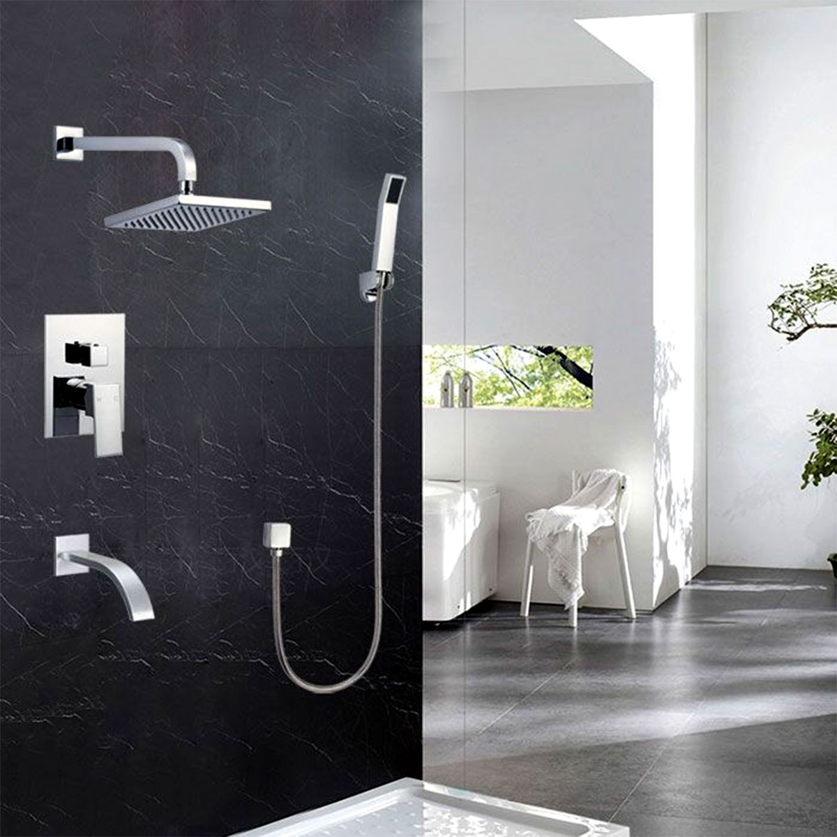 Bathroom Single Handle Tub and Shower Faucet - Brass with Chrome ...