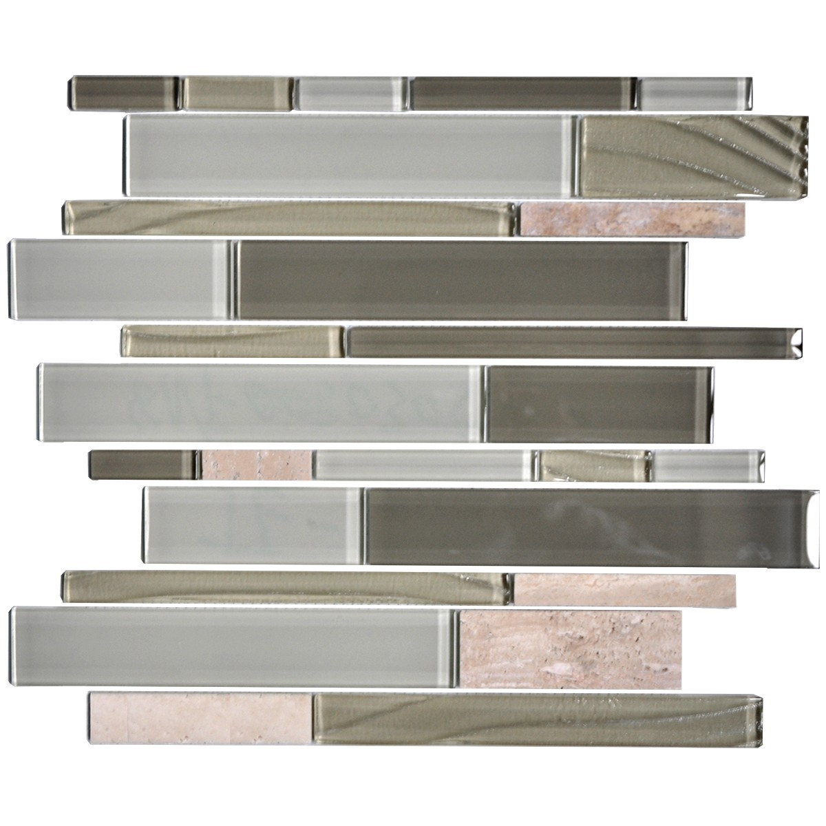 14.2 in. x 11.8 in. Glass and Stone Blend Strip Mosaic Tile - 8mm Thickness (DK-8NF0305-005)