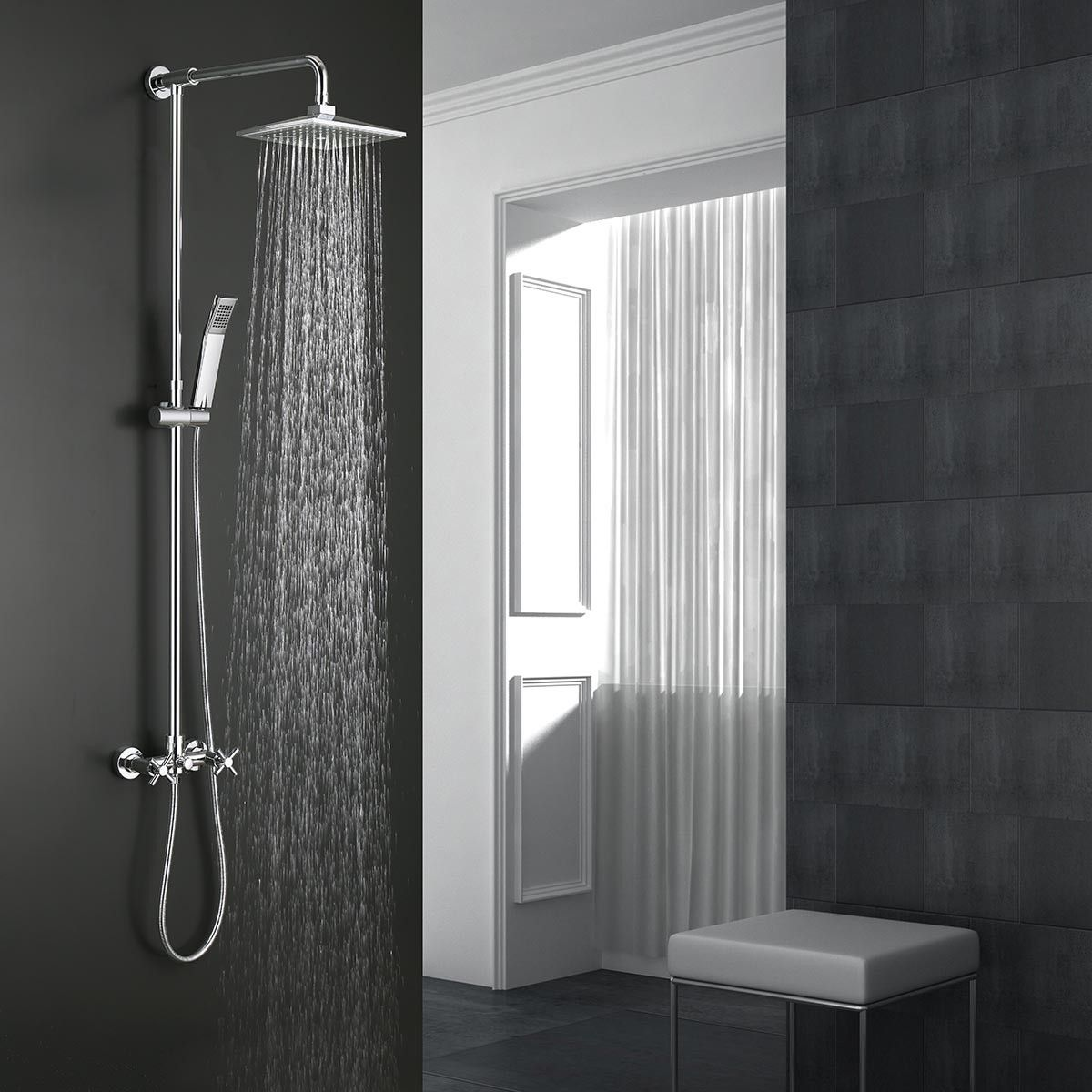 Modern Style Shower Head - Brass with Chrome Finish (9503)