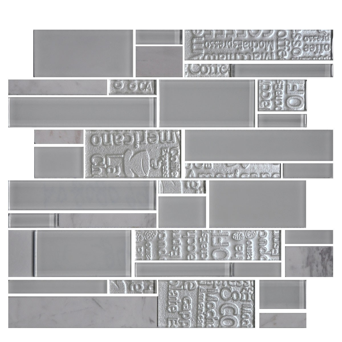 13.2 in. x 11.8 in. Glass Stone Blend Strip Mosaic Tile in Grey - 8mm Thickness (DK-AD808099)
