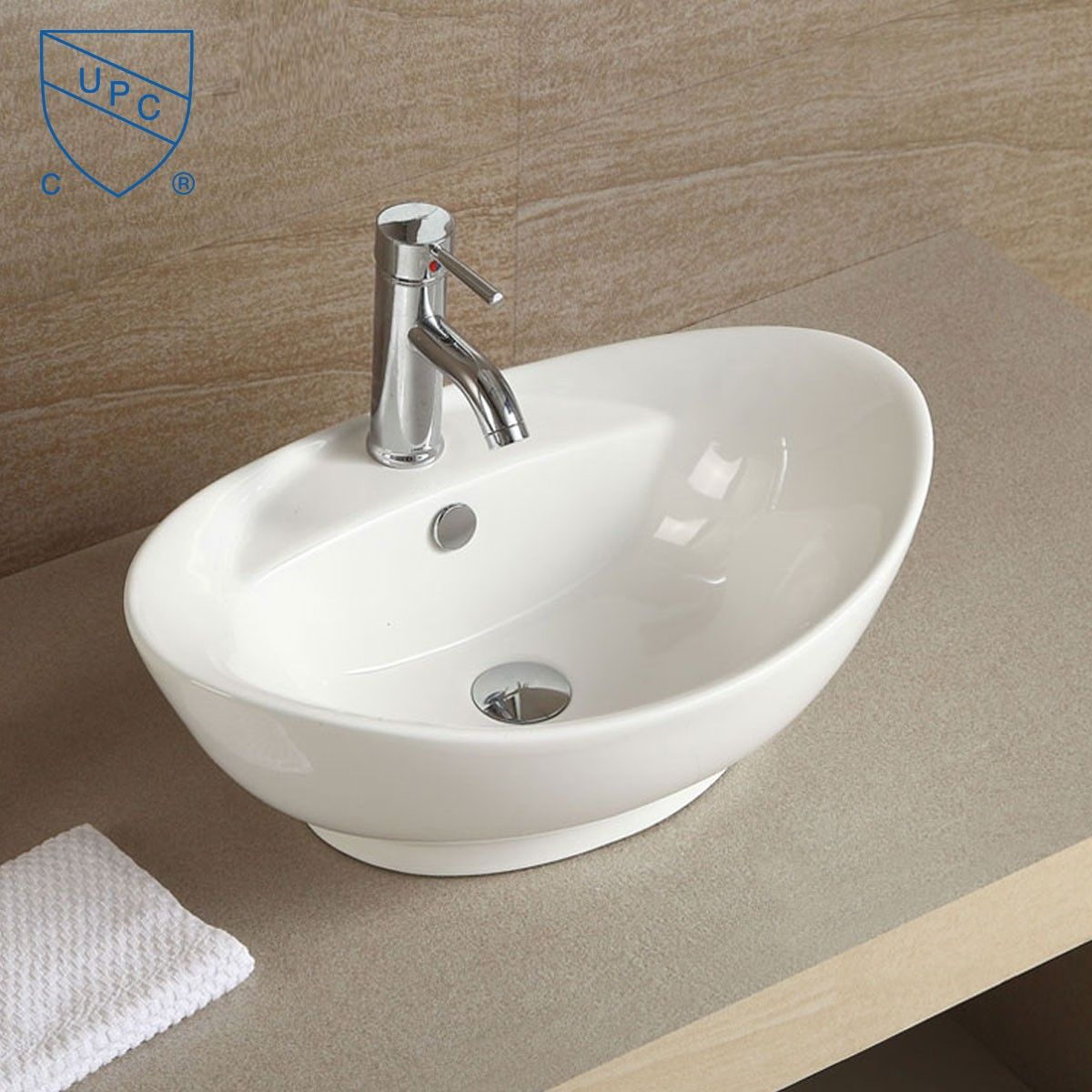 Decoraport White Oval Ceramic Above Counter Basin Cl 1038