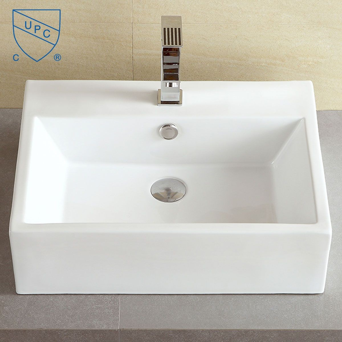 Decoraport White Rectangle Ceramic Above Counter Basin Vessel Vanity Sink (CL-1094)