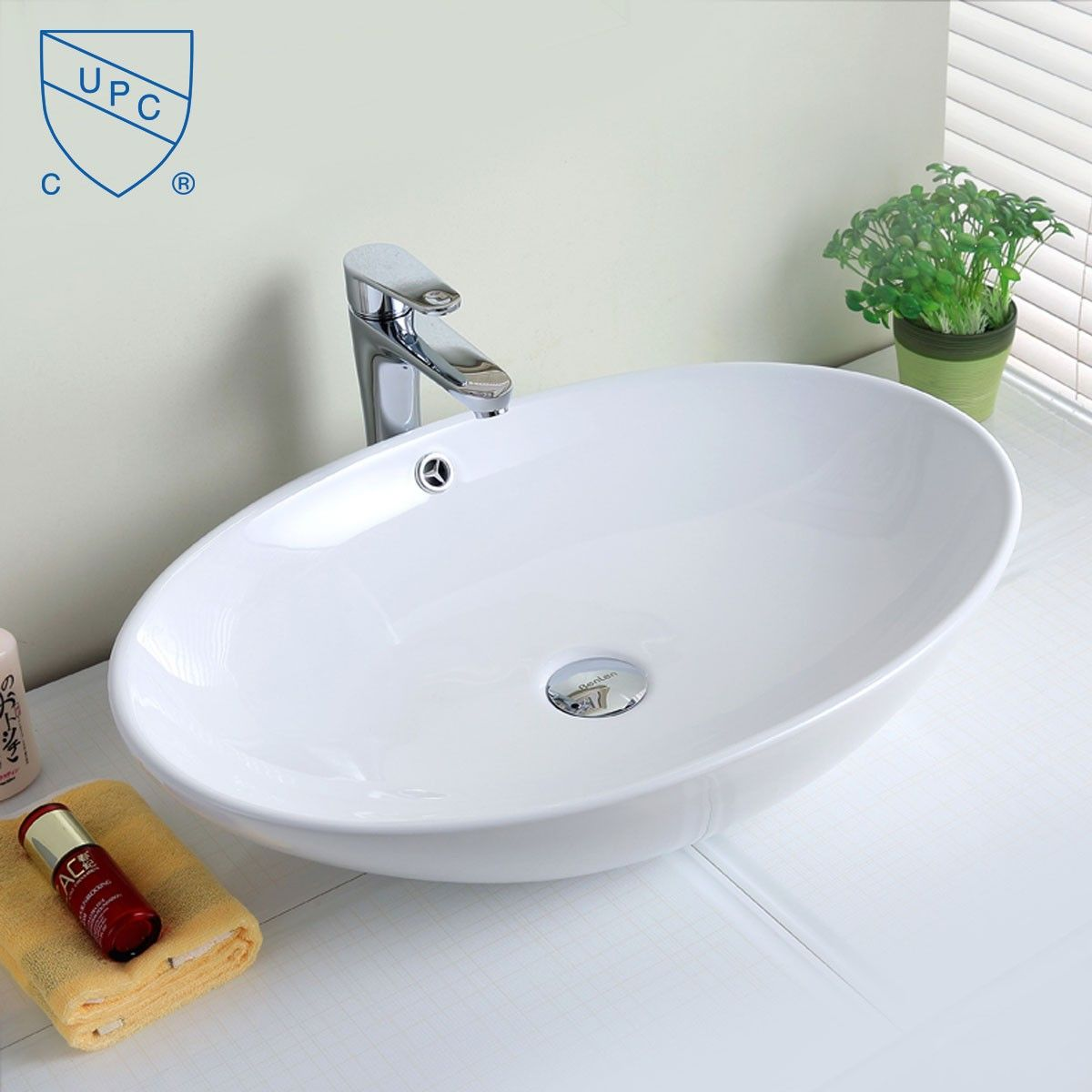 Decoraport White Oval Ceramic Above Counter Basin (CL-1164)