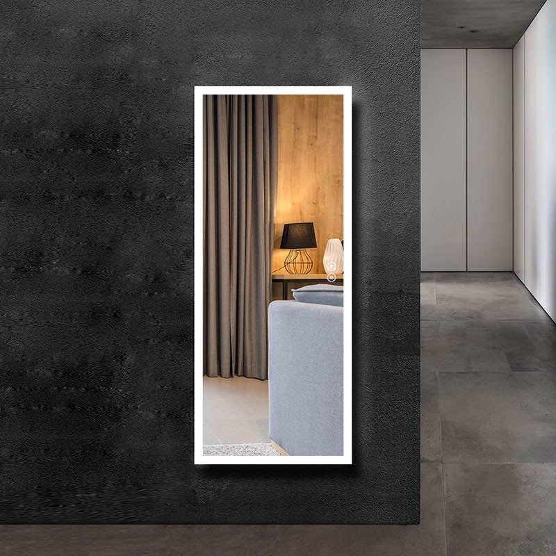 DECORAPORT 64 x 20 Inch LED Full-Length Dress Mirror with Touch Button, Explosion-proof Film, Dimmable, Frameless, Cold & Neutral & Warm Lights, Mirror&Wall Control, Standing Holder (D2303-6420)