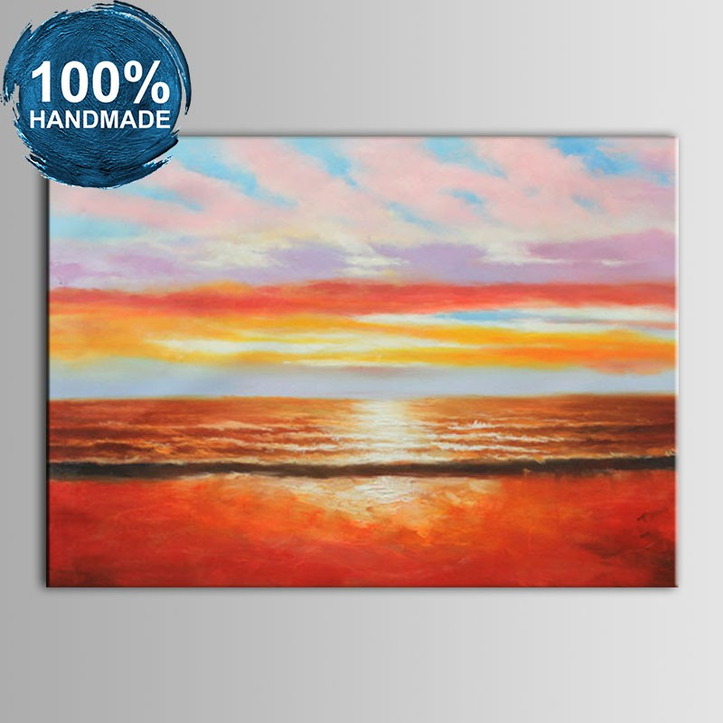 100% Hand Painted Abstract Sunglow Seascape Oil Painting (DK-JX-YH054)