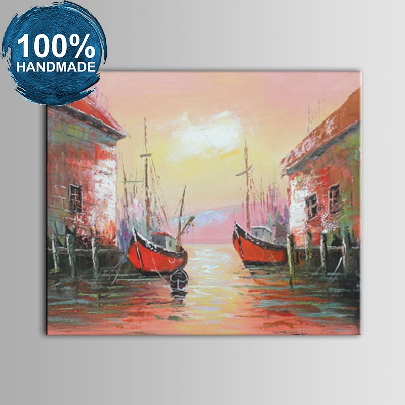 100% Hand Painted Abstract Venice Landscape Oil Painting (DK-JX-YH032)