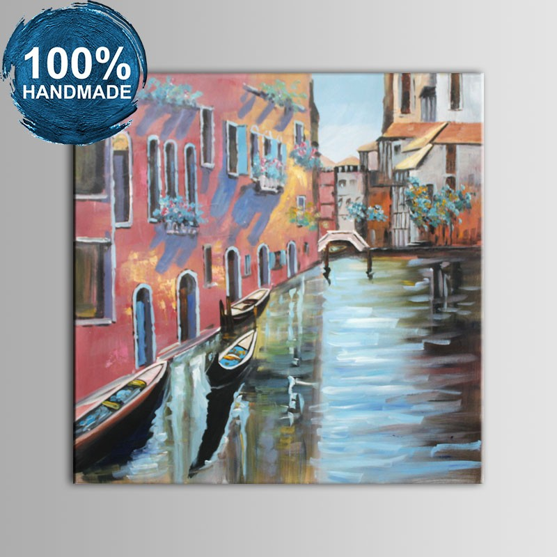 100% Hand Painted Abstract Venice Landscape Oil Painting (DK-JX-YH040)