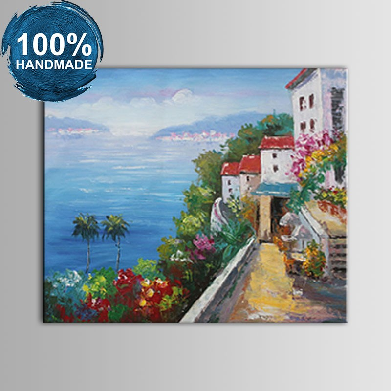 100% Hand Painted Abstract Mediterranean Landscape Oil Painting (DK-JX-YH037)