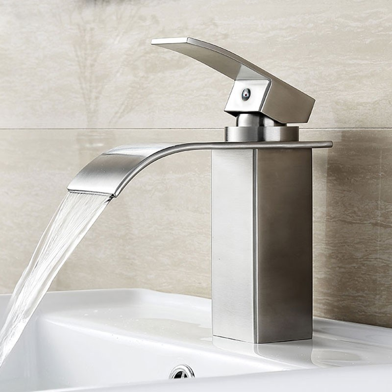 Basin&Sink Waterfall Faucet - Brass in Brushed Nickel (81H36-BN-S)