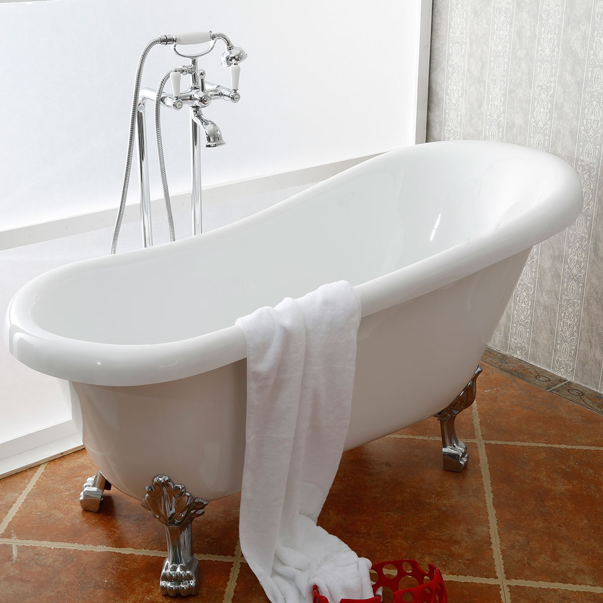 61 In Clawfoot Freestanding Bathtub - Acrylic Pure White (DK-PW-1912)