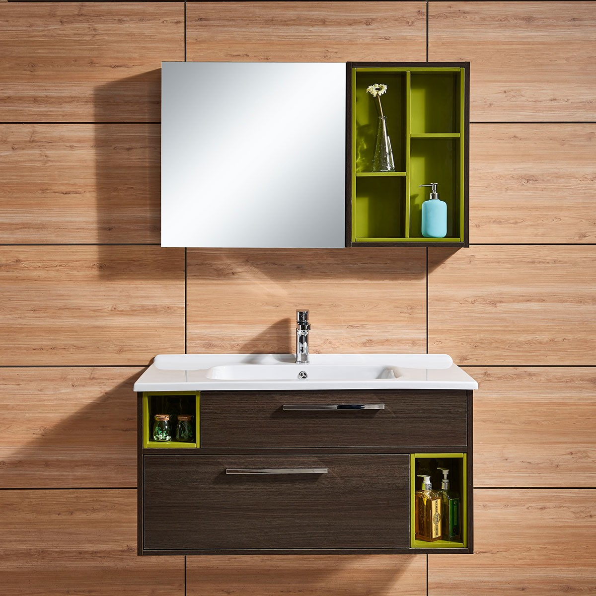 39 In. Wall Mount Bathroom Vanity Set With Mirror And Side Cabinet (DK