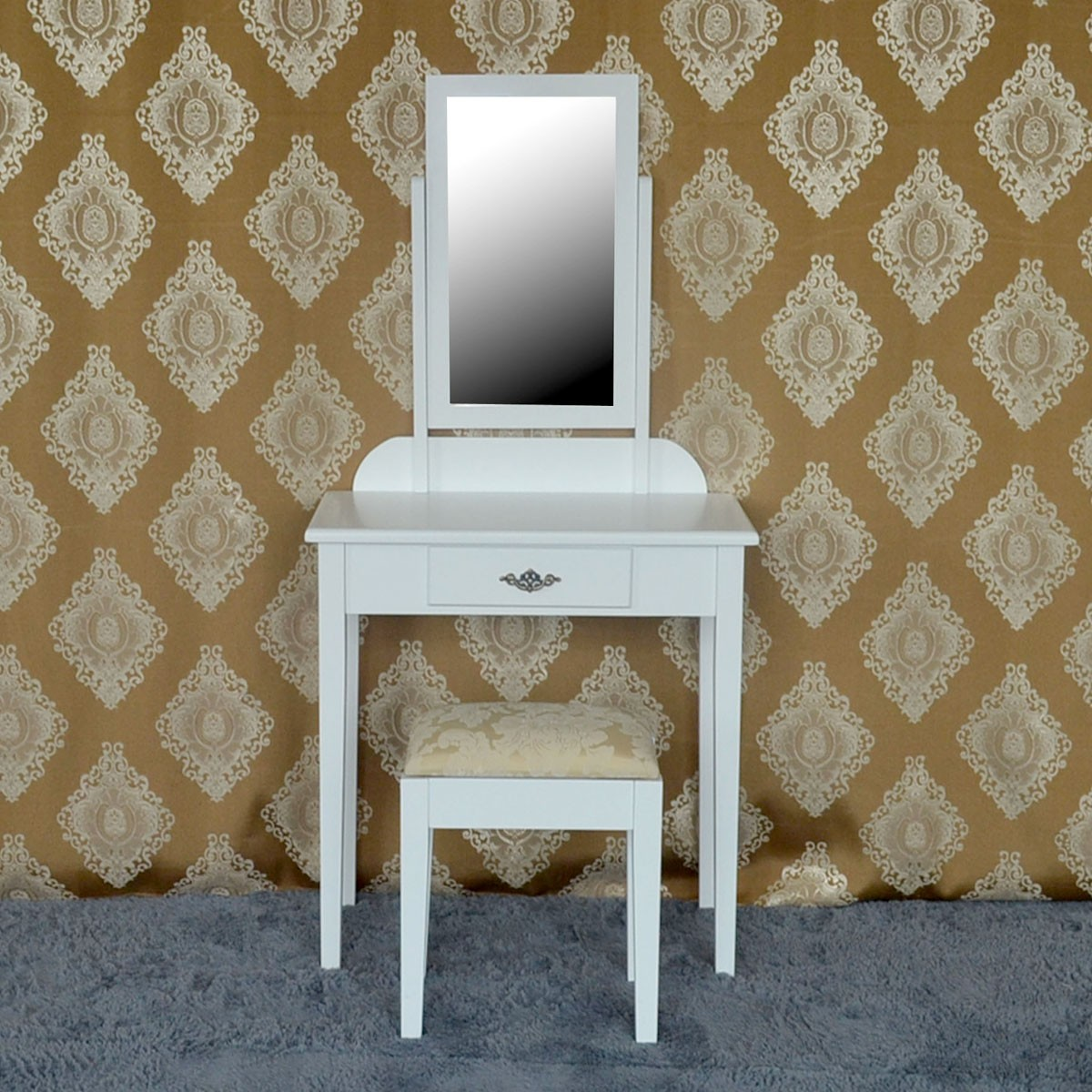 Bedroom Makeup Vanity Set with Mirror and Stool (JI3138W)
