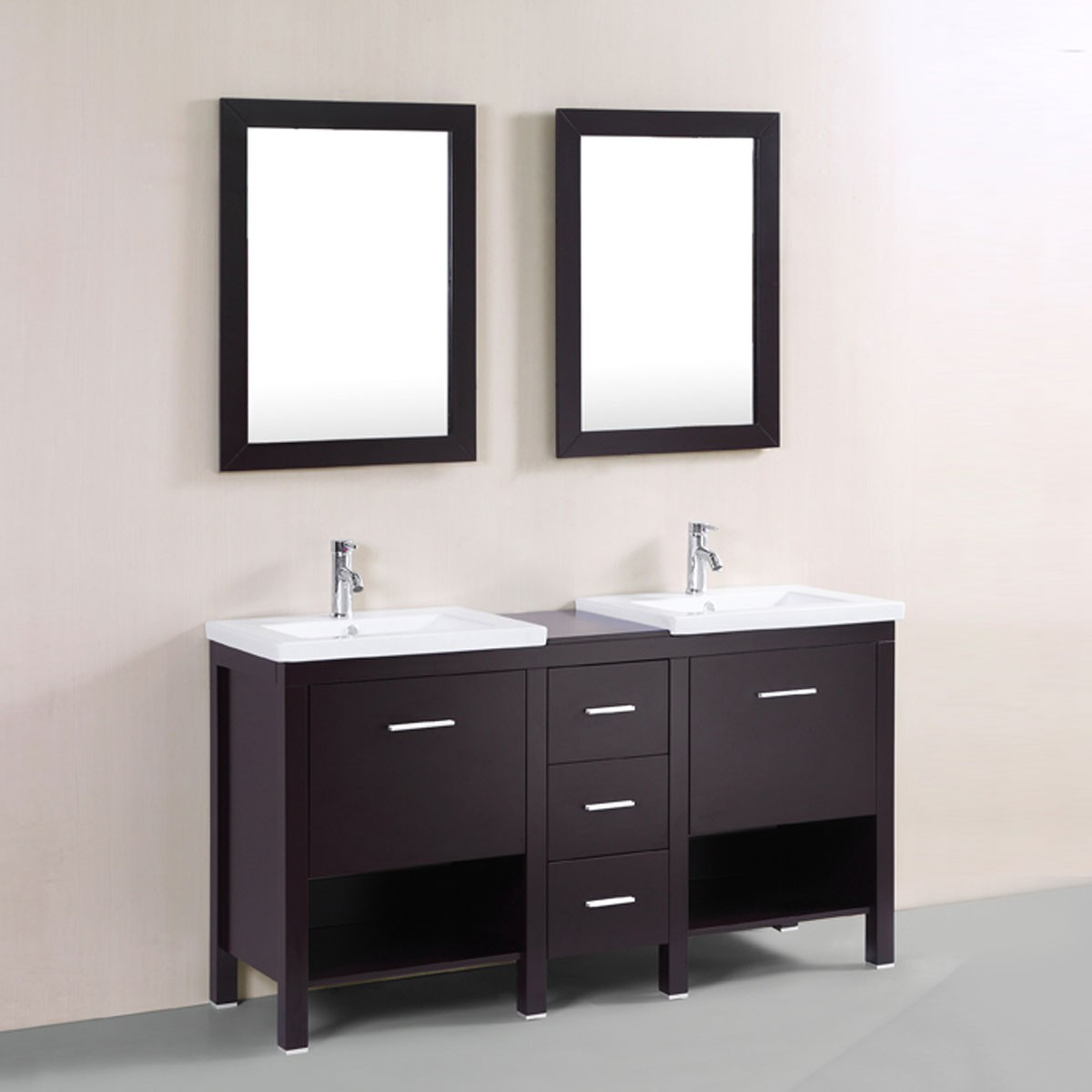 60 In. Freestanding Bathroom Vanity Set with Double Mirrors and ...