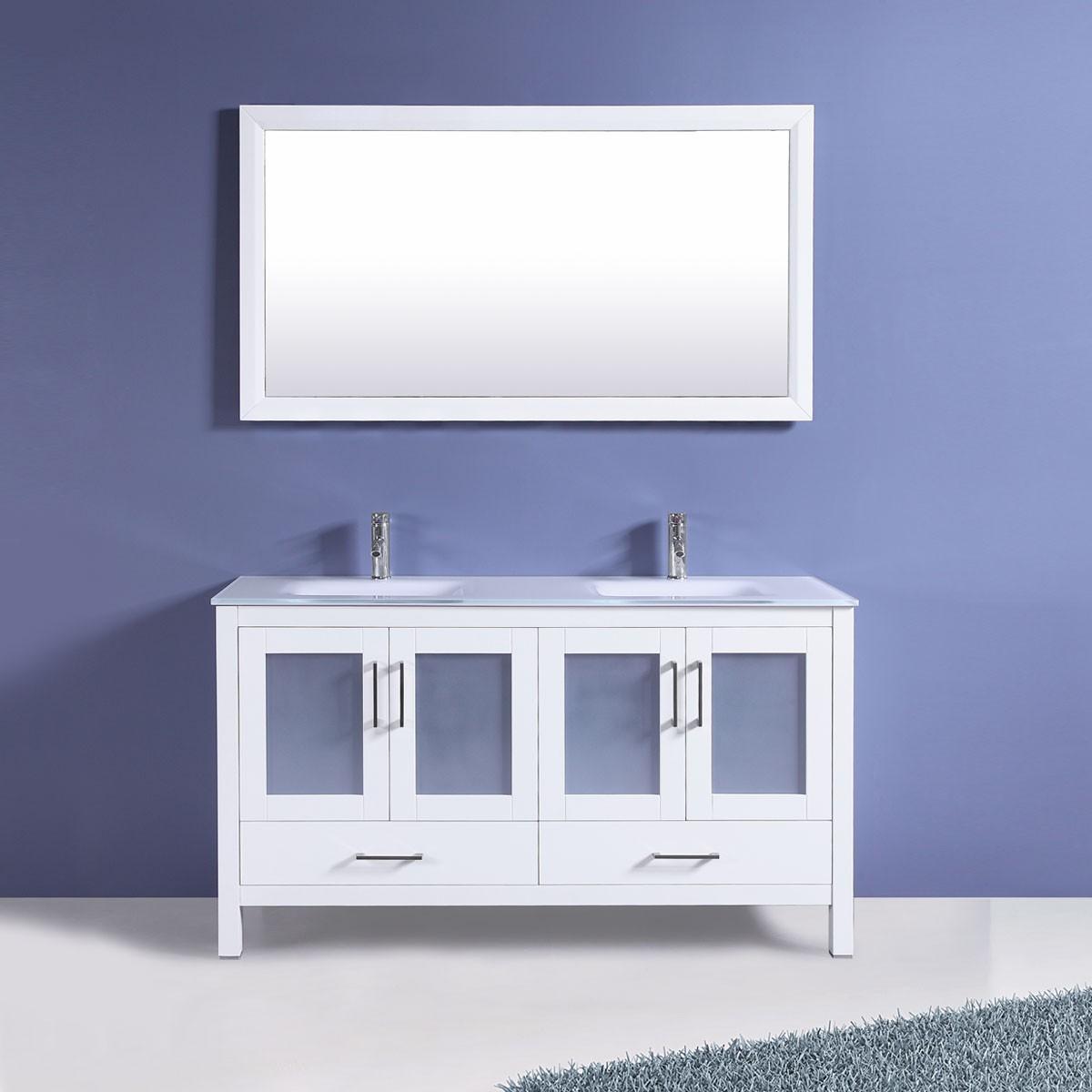 60 In. Freestanding Bathroom Vanity Set with Mirror and Double Sinks ...
