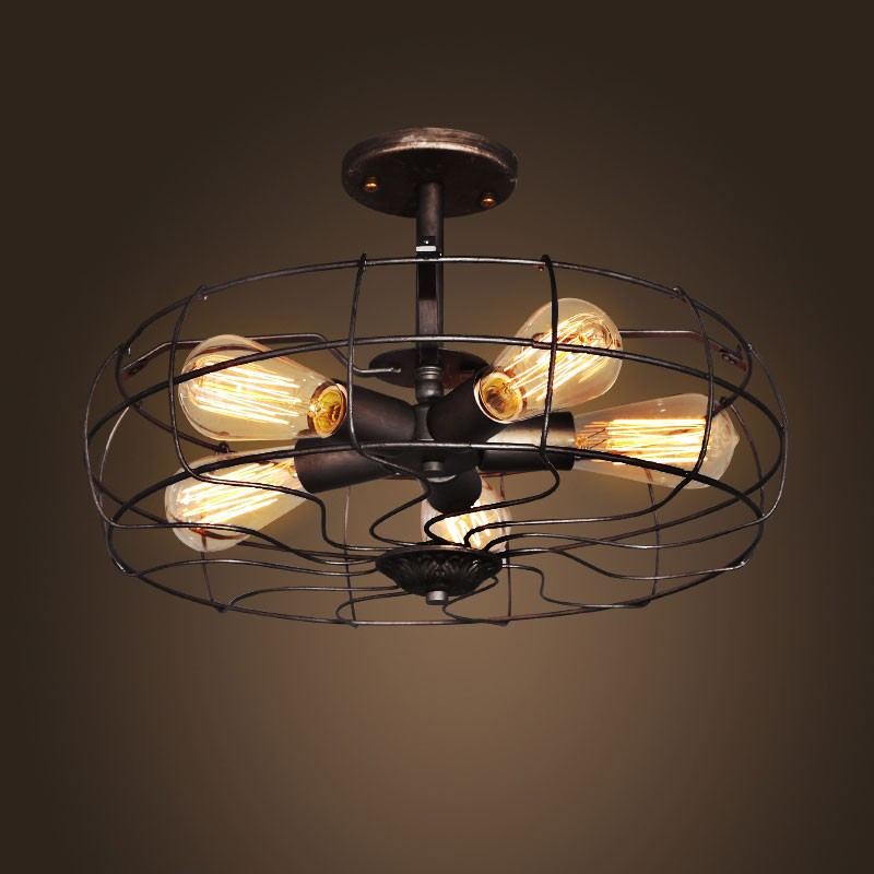 5-Light Iron Built Rust Vintage Ceiling Light (DK-5001-X5 ...