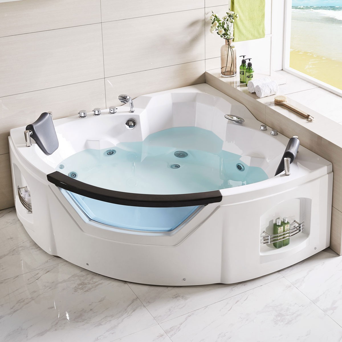 61 x 61 In Fan Shaped Back to Wall Whirlpool Tub with Double Pillow ...