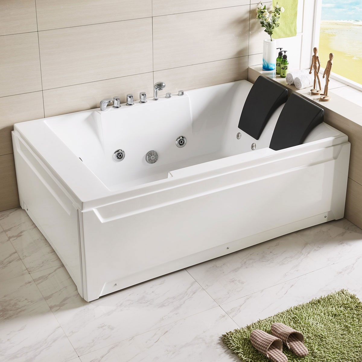 72 x 48 In Whirlpool Tub with Double Pillow (DK-Q367) | Decoraport USA