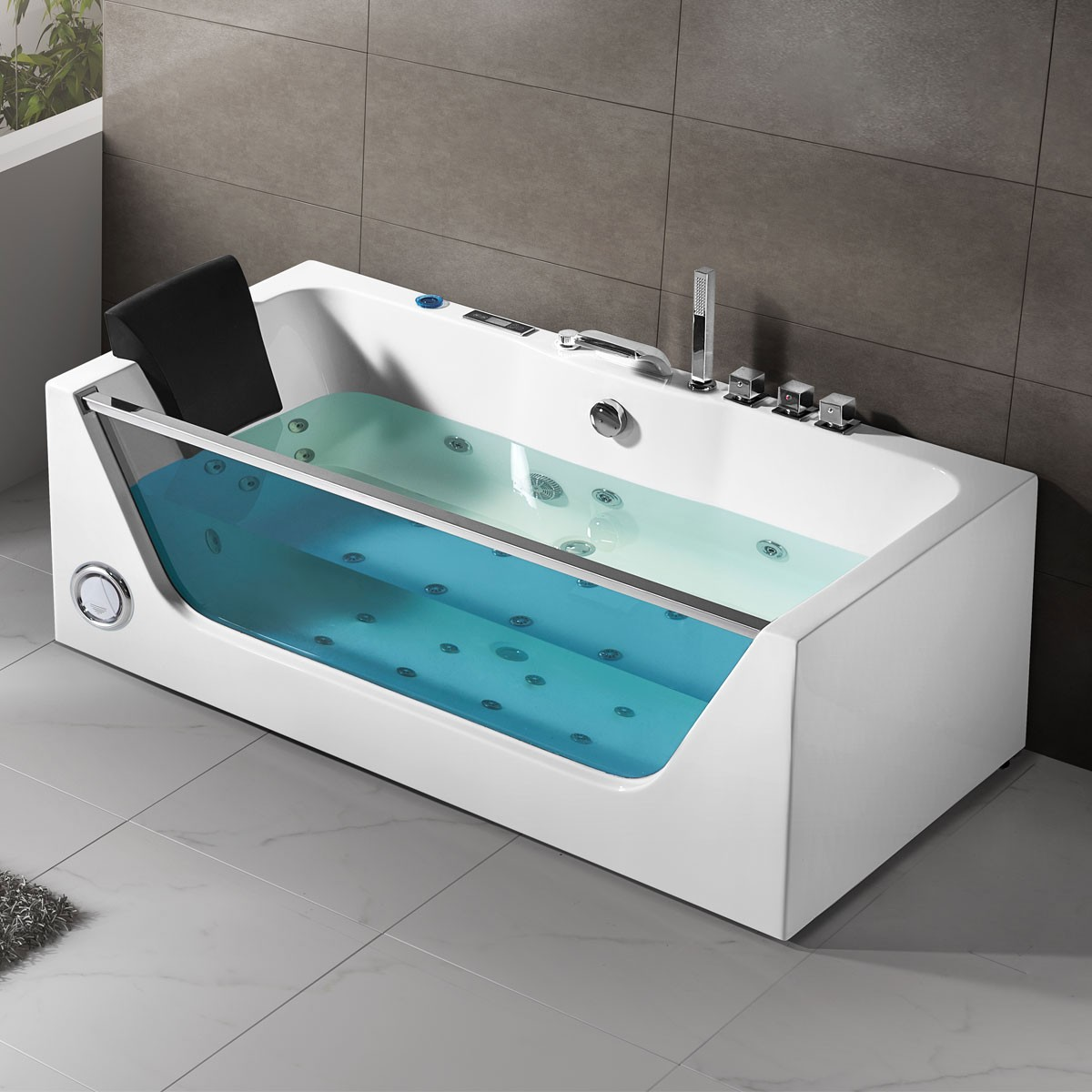 68 In Air Bubble Whirlpool Tub with Computer Control and Light (DK ...