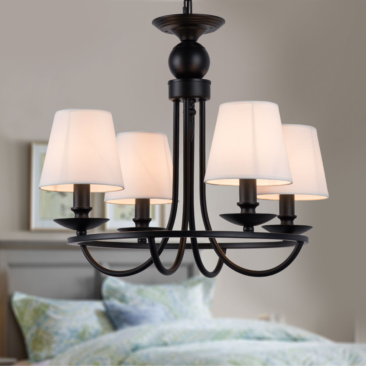 4 Light Black Wrought Iron Chandelier With Cloth Shades