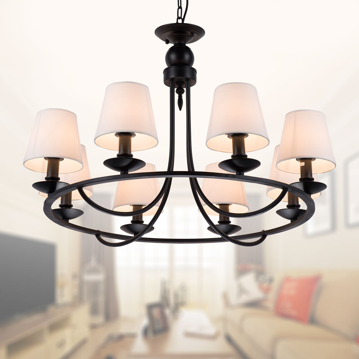 8 Light Black Wrought Iron Chandelier With Cloth Shades (DK 2027 8A