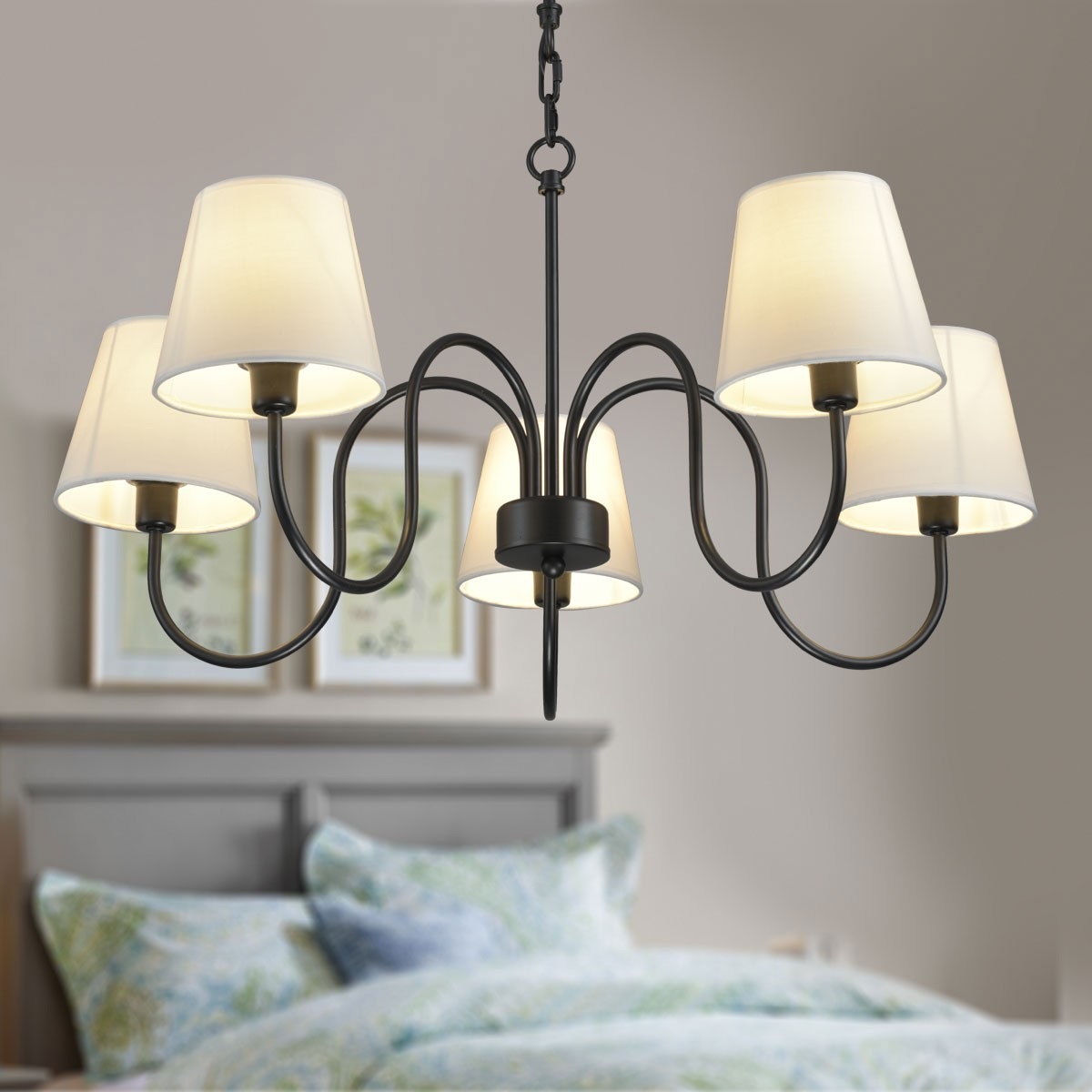 5-Light Black Wrought Iron Chandelier with Cloth Shades (DK-7059-5)