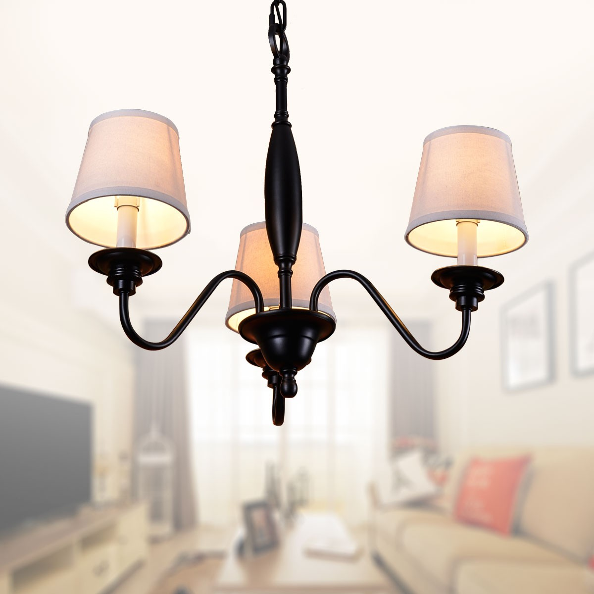 3 light black wrought iron chandelier with cloth shades dk 7057 3