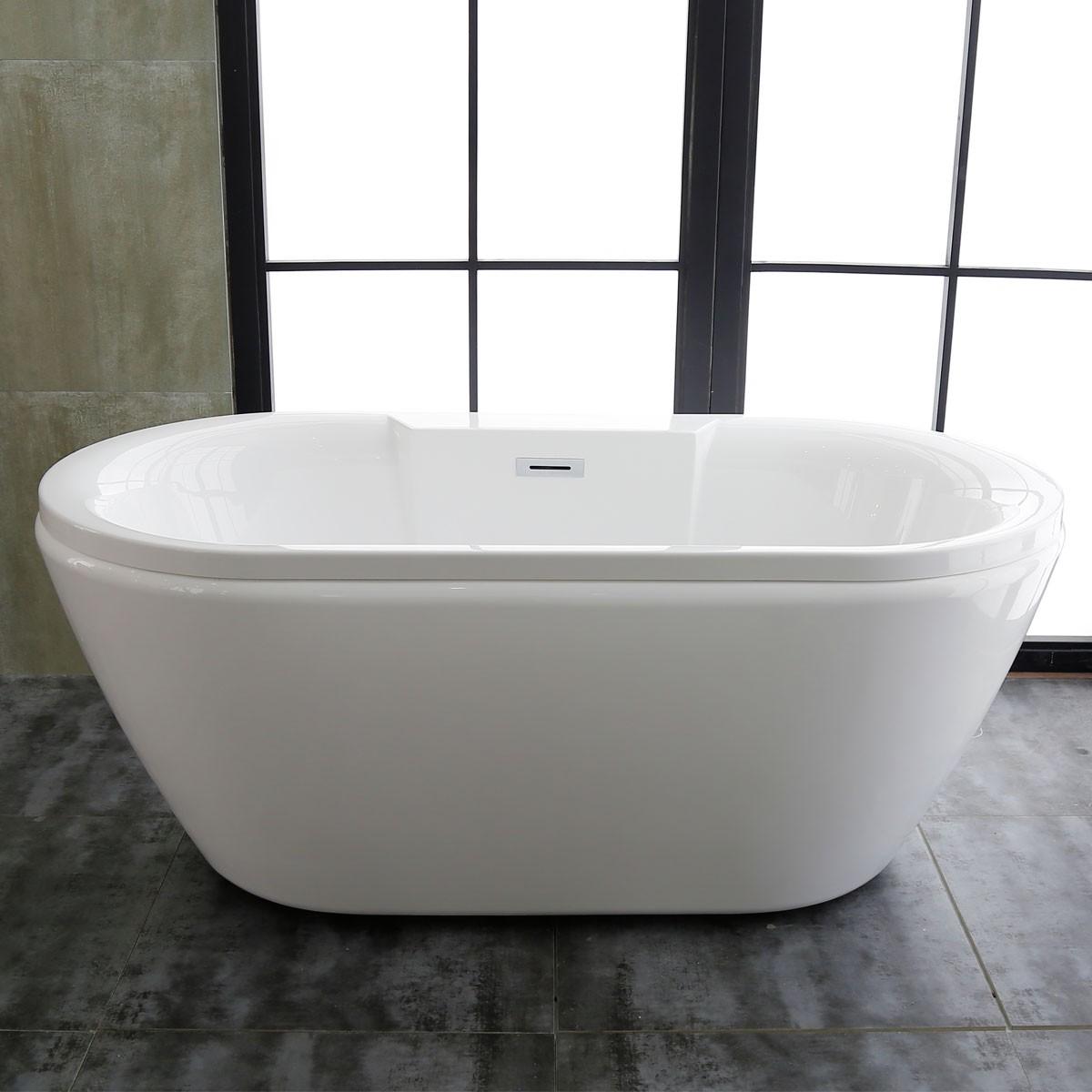 60 In Freestanding Bathtub - Acrylic Pure White (DK-PW-58576)